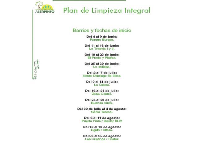 Pinto pone en marcha un plan integral de ser madrid sur - Plan de limpieza ...